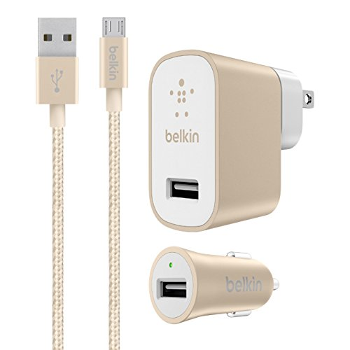 Belkin Metallic Universal Home & Car Charger Bundle with 4-Foot Micro USB Cable, Gold (2.4 Amp) (Charger Kit Home Car And Belkin)