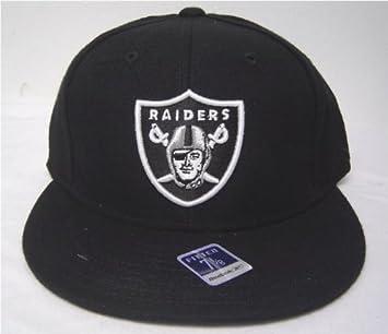 Size 7 3 8 Black Oakland Raiders Flat Bill Fitted Cap  Amazon.co.uk  Sports    Outdoors 6f69b35bf