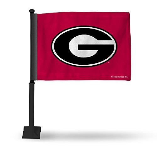 (Rico Industries NCAA Georgia Bulldogs Car Flag with Black Pole)