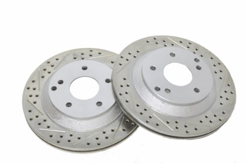 BAER 55012-020 Sport Rotors Slotted Drilled Zinc Plated Rear Brake Rotor Set - Pair