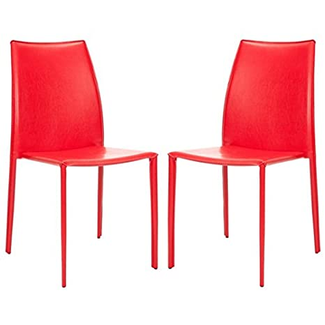 Peachy Safavieh Home Collection Aubrey Modern Red Leather Side Chair Set Of 2 Beatyapartments Chair Design Images Beatyapartmentscom