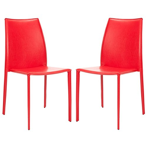 Bicast Leather Arm Dining Chairs - Safavieh Home Collection Aubrey Modern Red Leather Side Chair (Set of 2)