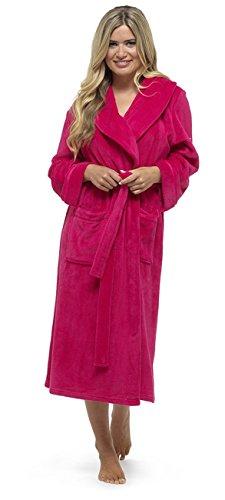 Señoras largo Plain suave forro polar Coral dreesing vestido túnica Rosa