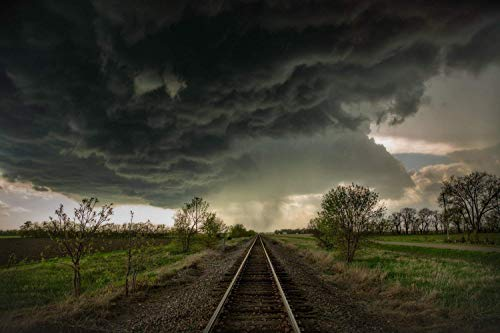 Railroad Photography Art Print - Picture of Train Tracks Leading Into Dark Storm Clouds in Kansas Thunderstorm Weather Decor 5x7 to 40x60