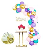 Shimmer and Confetti Premium 74 Pack Unicorn Balloon Arch and Garland Kit with 74 Matte Pink, Purple, White, Aqua Balloons, 10 Gold Confetti Balloons, 16-ft Decorating Strip, Fishing Line, Glue Dots