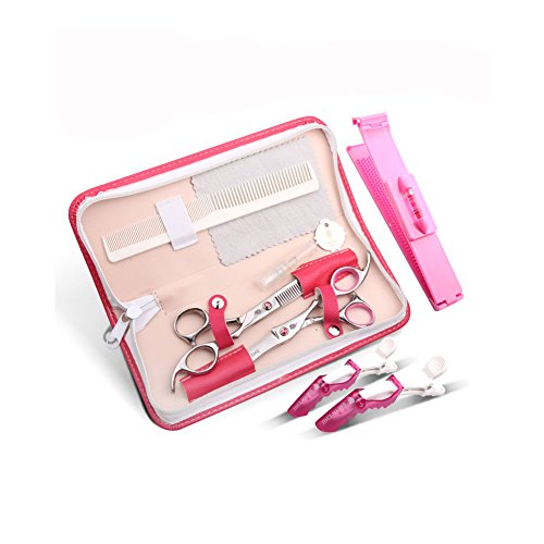Barber Salon Hair Cutting Tools Set with Case (Pink) - 8