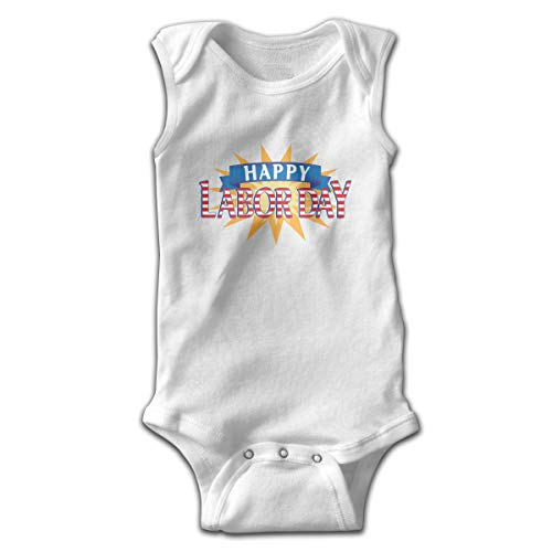 Address Verb Baby Sleeveless Bodysuits Labor Day Unisex Cute Lap Shoulder Onesies White