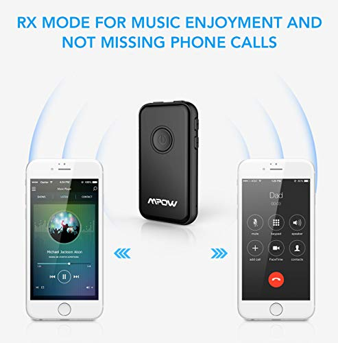 Mpow Bluetooth 5.0 Transmitter and Receiver, 2-in-1 Wireless Bluetooth Adapter, Bluetooth Transmitter for TV, Bluetooth Audio Adapter for Car/Home System, Built-in Mic for Hands-Free Call in RX Mode