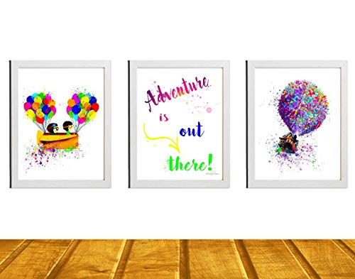 Nursery Decor - Disney Up 3 Piece Set - Carl and Ellie Watercolor Disney Inspired Art - Movie Art Poster Baby Boy or Girl Nursery Art Unframed