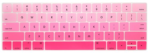HRH 2016 NEWEST Ultra Thin Ombre Pink Silicone Keyboard Cover Skin for MacBook Pro 13-Inch with Multi Touch Bar A1706 & MacBook Pro 15-Inch with Multi Touch Bar A1707 USA Layout