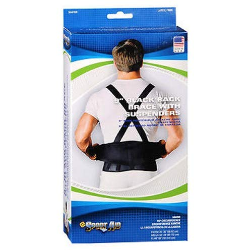 (Sportaid Back Belt With Suspenders, Black X-Large 1 each by Scott Specialties (Pack of 3))