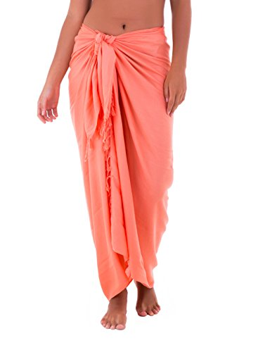 Shu-Shi Womens Beach Cover Up Sarong Swimsuit Cover-Up, Coral, One Size,Coral,One - Coral Suit Skirt