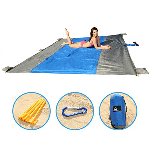 Ultra Dry Beach Blanket Outdoor Sand Free XL 9X10 Mat Picnic Blanket Ripstop Nylon with Stakes and Corner Pockets