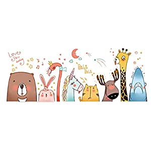 Wall Paper Animal Cartoon kindergarten Removable Wall Stickers For Kids Rooms Home Decor DIY Wallpaper Art Decals House Decoration