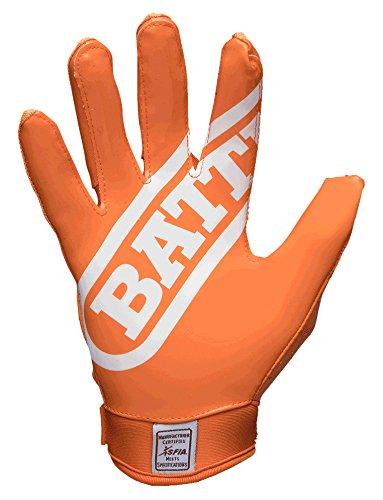 Battle Double Threat Adult Football Gloves, Orange/Orange, Large