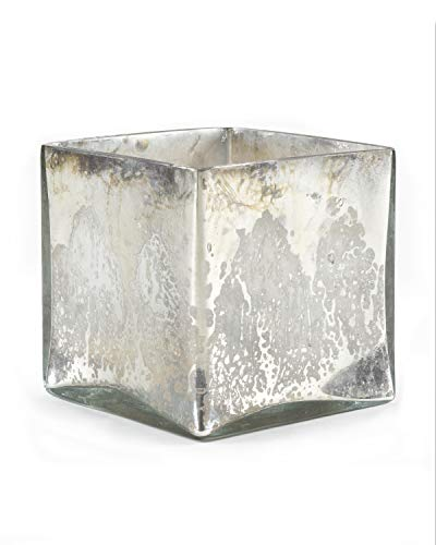 Serene Spaces Living Silver Mercury Glass Cube Vase - Handmade Vintage Inspired Vase with Antique Feel in 5