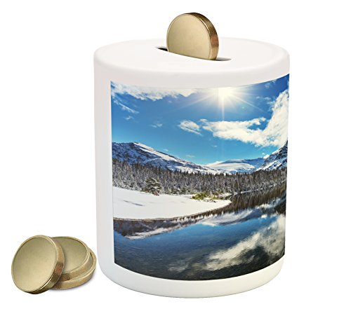 Winter Piggy Bank By Ambesonne  Tranquil View Of Glacier National Park In Montana Water Reflection Peaceful  Printed Ceramic Coin Bank Money Box For Cash Saving  Brown Blue White