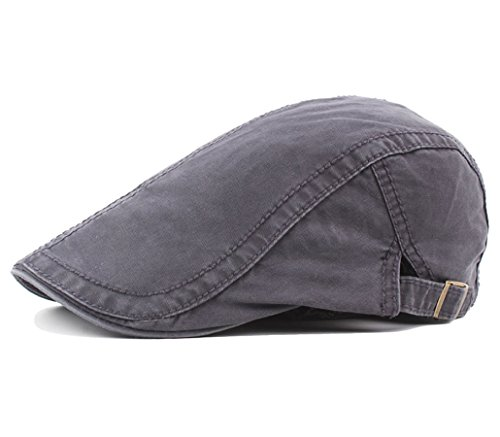 Men's Cotton Flat Snap Hat Ivy Gatsby Newsboy Hunting Cabbie Driving Cap (Grey)