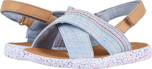 - TOMS Kids Baby Girl's Viv (Toddler/Little Kid) Light Bliss Blue Speckled Chambray/Deco Stitch 7 M US Toddler