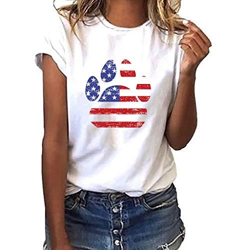 Sunhusing Ladies Independence Day Star Stripe Flag Pattern Dog Claw Shape Printed Short Sleeve T-Shirt White ()