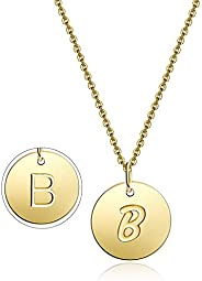 VILLGARI Gold-Plated Initial Necklace Round Disc Handmade Dainty 26 Letter Pendant Name Necklace for Women Gir