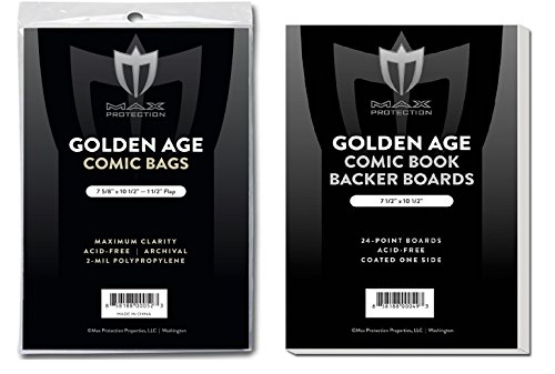 50 EACH Max GOLDEN age COMIC BOOK BAGS AND BOARDS PREASSEMBLED - FAST SHIP by Max Protection