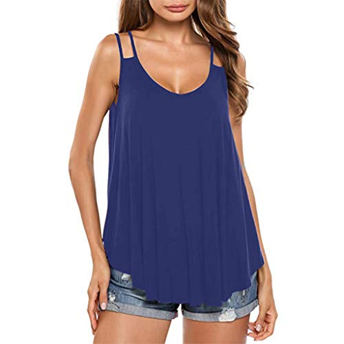 JMETRIE Women's Casual Irregular Hem Sling V-Neck Tank Top Slim Fit Summer Blouse T-Shirt Blue