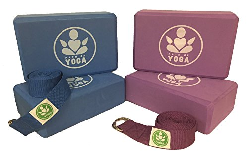 Path of Yoga Blocks & Straps! High Density EVA Foam Block Deepens Poses, Improves Strength, Balance & Flexibility - Lightweight, Odor Resistant (Purple & Blue, 4 blocks 2 straps)