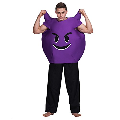 Devil Costumes Adults (EraSpooky Unisex Devil Emoticon Costume(Purple, OneSize))