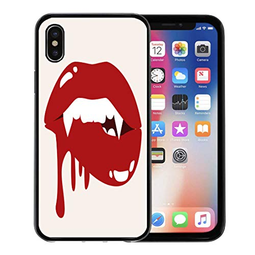 Semtomn Phone Case for Apple iPhone Xs case,Red Teeth Sexy Vampire Biting Lips Blood Cartoon Halloween Stock Fangs Graphic for iPhone X Case,Rubber Border Protective Case,Black -