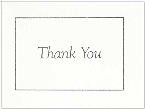 C.R. Gibson White and Silver Bordered Thank You Cards, 20pc, 5'' W x 3.75'' H