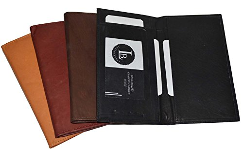 Checkbook Cover Holder Super Slim Plain Mens Womens Genuine Leather Cowhide New (Burgundy) (Leather Slim Super)