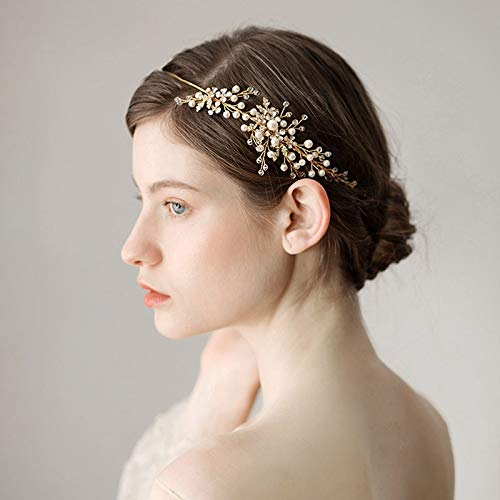 Gold Crown Tiara Diadem Pearl Bridal Crown Wedding Chapel Crown Headband Crown Tiara Hair Hair Accessories With A Gift For Women