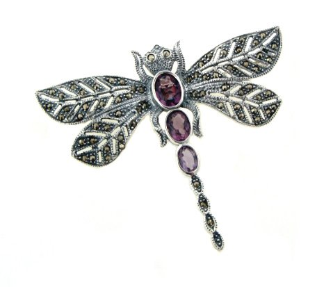 (Sterling Silver Marcasite Dragonfly Pin Brooch w/Purple)