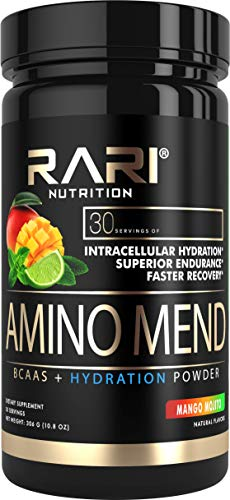 RARI Nutrition - Amino MEND - 100% Natural BCAA Powder - Essential Amino Acids - Vegan and Keto Friendly - Endurance and Recovery - Pre | Intra | Post Workout - 30 Servings (Mango Mojito)