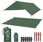 Grassman Camping Tarp, Ultralight Waterproof 10x10ft/10x12ft Rain Fly Shelter, Easy to Setup Camping Tarp Tent