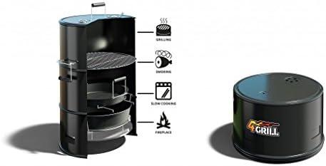 BBQ 7062425Barbecue en tonneau 4en 1–Noir