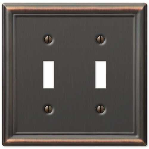Bronze Double Toggle - Decorative Wall Switch Outlet Cover Plates (Oil Rubbed Bronze, Double Toggle)
