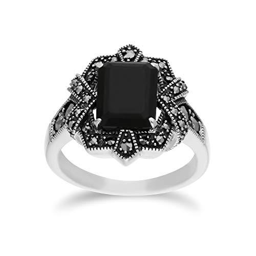 Gemondo Black Onyx Ring, Sterling Silver Black Onyx & Marcasite Octagon Art Nouveau Ring ... (6)