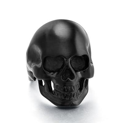 High Polished Black Vintage 316l Stainless Steel Skull Rings for Men Size 7 - 13