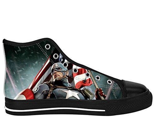 Mens Canvas Kängor Kapten Amerika Print Kapten Shoes16
