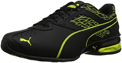 PUMA Men's Tazon 6 Fracture FM Sneaker, Black-Safety Yellow, 11 M US