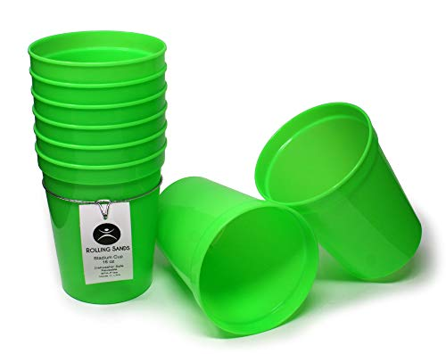 Rolling Sands 16oz Reusable Plastic Stadium Cups Lime Green (8 Pack, Made in USA, BPA-Free) Dishwasher Safe Plastic Tumblers
