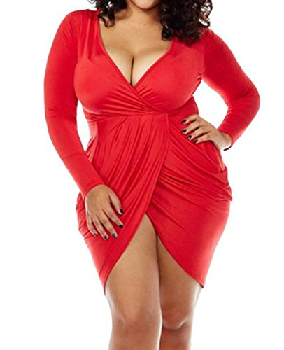 POSESHE Womens Plus Size Deep V Neck Bodycon Wrap Dress with Front Slit XL Red (Plus Size Red Dresses)