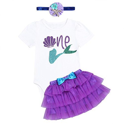 TiaoBug 3PCS Baby Girls 1st Birthday Outfit Short Sleeve Romper with Tutu Skirt and Headband Set Purple & White 12-18 Months