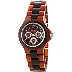 Tense Two Tone Sandalwood Triple Dial Mens Round All Wood Watch G4300SD DF