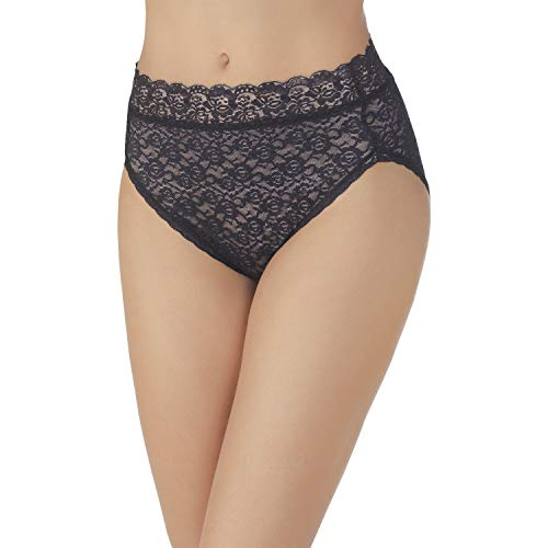 Vanity Fair Women's Flattering Lace Hi Cut Panty 13280, All Over Lace Black, X-Large/8