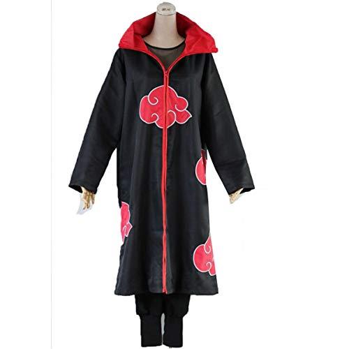 (NSOKing Anime Naruto Uchiha Itachi Cosplay Costume Suits Cloak Outfit Pants Tshirt Set (Large, A)