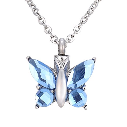 SG Butterfly Urn Necklace for Pet/Human Ashes Cremation Jewelry Memorial Keepsake Pendant Blue]()