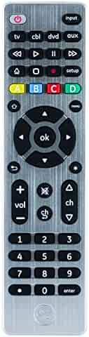 GE 4 Device Universal Remote, Smart TVs, LG, Vizio, Sony, Blu Ray, DVD, DVR, Roku, Apple TV, Streaming Players, Simple Setup, Auto Scan, Pre-Programmed for Samsung TVs, Silver, 33709